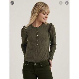 Lucky Brand Shirt Polka Dotted Ruffle Henley M
